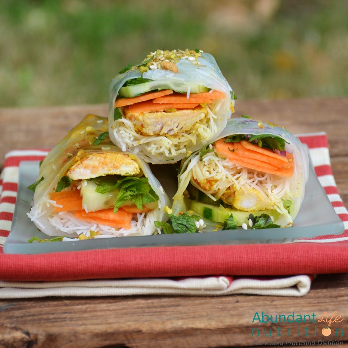 Cold Rolls with Dukkah Dusted Chicken